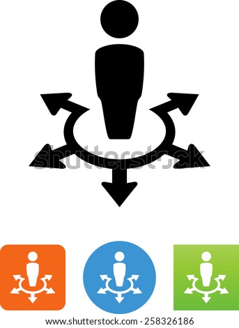Person standing at a crossroads symbol for download. Vector icons for video, mobile apps, Web sites and print projects.  - stock vector