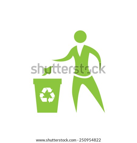 Person throw rubbish to recycle bin symbol vector logo illustration - stock vector