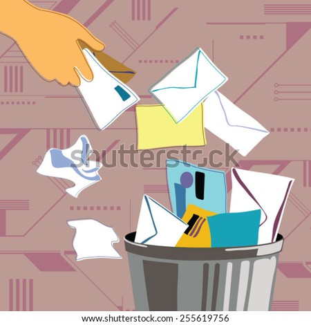 Person throwing mail in trash can - stock vector
