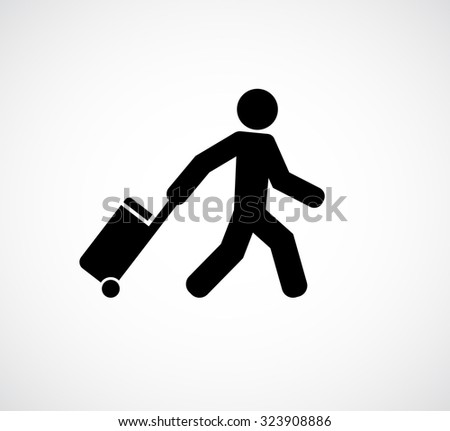 person, tourist, traveler with suitcase icon - stock vector