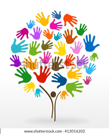 person tree hands illustration background - stock vector