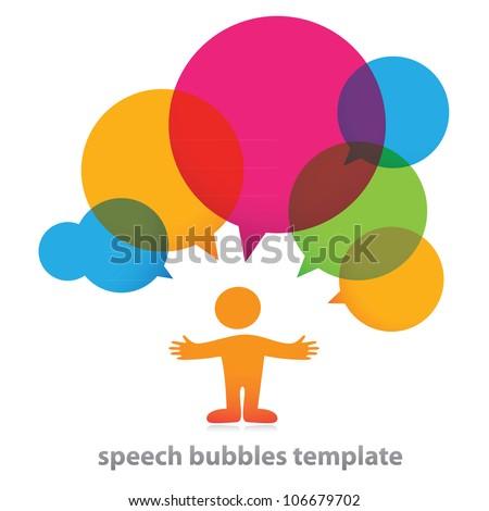Person with bubbles for dialogue. Vector. - stock vector