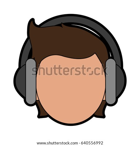 Stock Vector Person With Headphones Icon Image