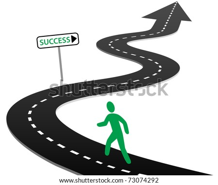 Person with initiative to begin a journey on curvy highway to success and bright future - stock vector