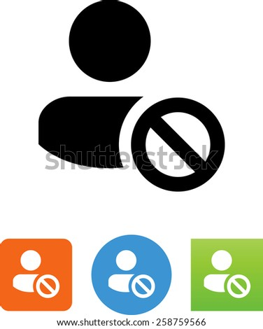 Person with prohibited symbol. Vector icons for video, mobile apps, Web sites and print projects. - stock vector