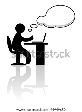 Person working on laptop - stock vector