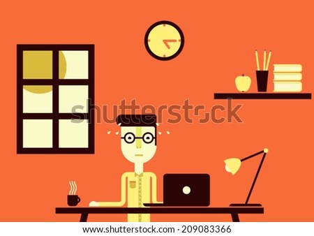 Person working very hard all day long - stock vector