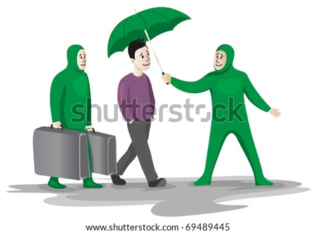 Personal assistance - two funny green assistant to help and serve as a wealthy young man - stock vector