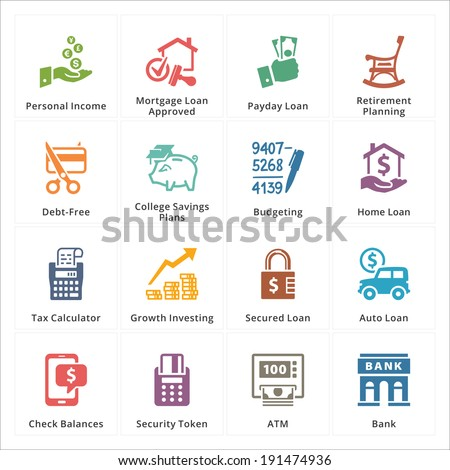 Personal & Business Finance Icons - Set 2 - stock vector