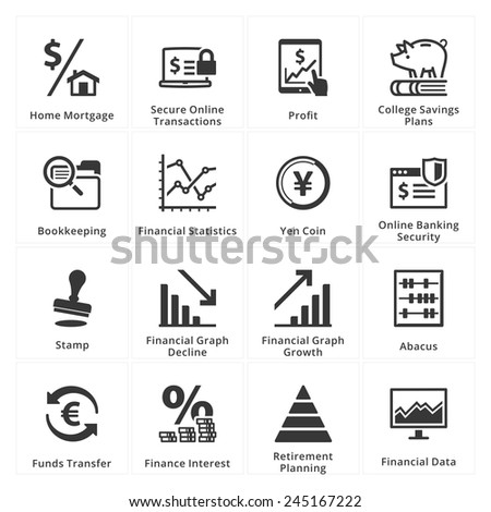 Personal & Business Finance Icons - Set 3  - stock vector