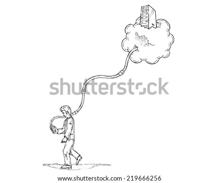 Personal cloud computing concept. Man holding a smart phone connected to the cloud. Hand drawn isolated vector sketch on white background. - stock vector