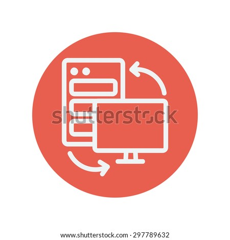 Personal computer set CPU thin line icon for web and mobile minimalistic flat design. Vector white icon inside the red circle. - stock vector