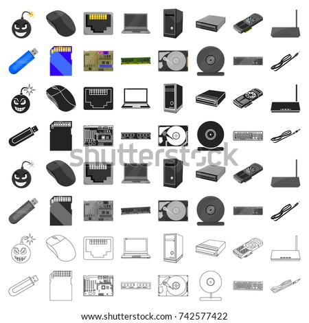 Personal computer set icons in cartoon style. Big collection of personal computer vector symbol stock illustration