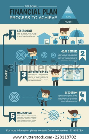 personal financial planning infographic describe process to achieve - stock vector