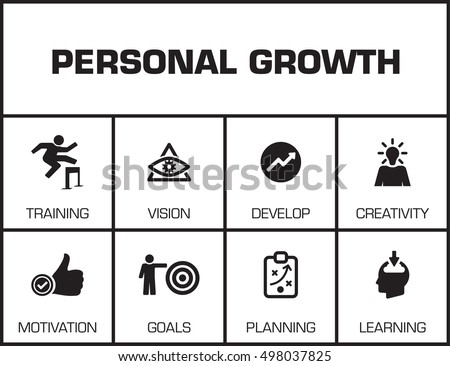 Personal Growth Chart Keywords Icons Stock Vector 2018 498037825