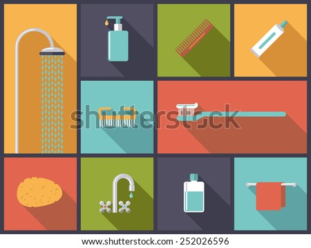 Personal Hygiene Flat Design Icons Vector Illustration. Flat design illustration with various body care icons. - stock vector