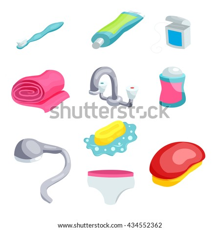 Personal Hygiene Items Care Clean Bathroom Stock Vector