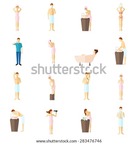 Personal hygiene teeth care shower shaving and cosmetic procedure colored flat icons set isolated vector illustration - stock vector