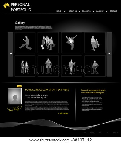 personal portfolio website template with business people, easy editable - stock vector