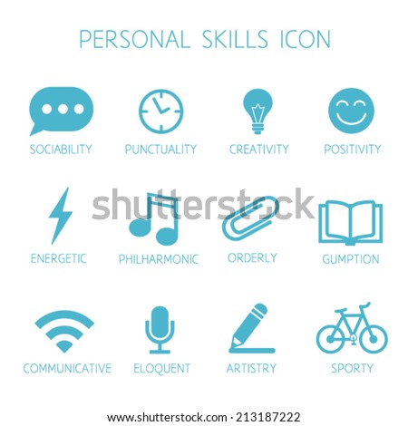 Personal Skills Icon. Self Characteristic Vector Icon Set. Soft Skills  Pictograms. Can Be  Resume Personal Skills