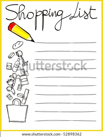 Personalized shopping list, vector - stock vector