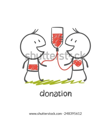 persons engaged in the donation illustration - stock vector
