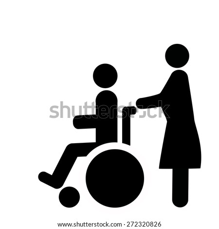 persons with disabilities accompanied  - stock vector