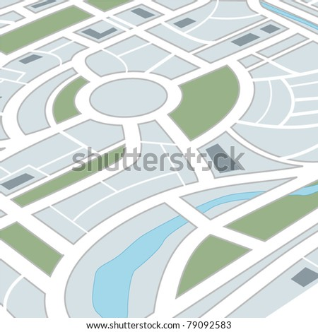 Perspective background of abstract city map - stock vector