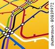 Perspective background of metro scheme on yellow - stock vector