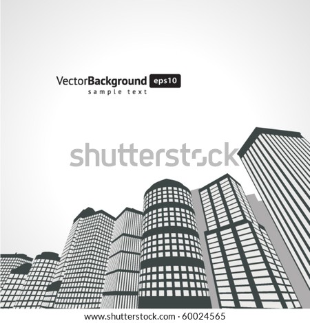 Perspective city vector background - stock vector