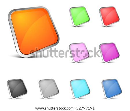 perspective color button on white background - stock vector