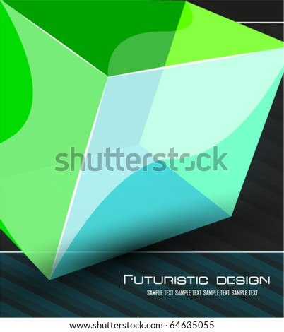 Perspective cube vector background - stock vector