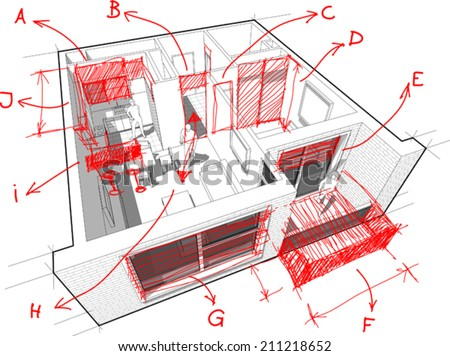 Perspective cut-away diagram of a 1-bedroom apartment, completely furnished with red hand drawn architectural sketches and notes - stock vector