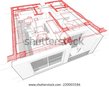 Perspective cut-away diagram of a 1-bedroom apartment, completely furnished with red hand drawn architectural floorplan - stock vector