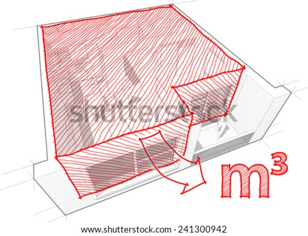 Perspective cut-away diagram of a 1-bedroom apartment, completely furnished with red hand drawn architectural room/cubic meters sketch - stock vector