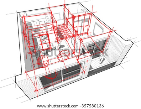 perspective cutaway diagram of a one bedroom apartment completely furnished with red hand drawn architectural sketches over it - stock vector