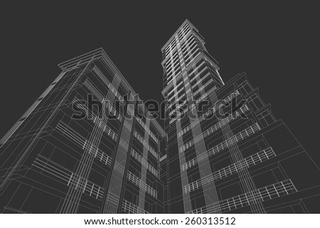 Perspective 3D render of Aerial view of city buildings  - stock vector