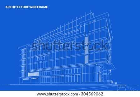 Perspective 3D render of building wire frame - Vector illustration - stock vector