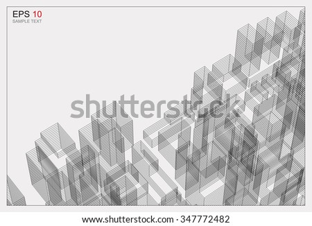 Perspective 3D render of building wireframe. Vector abstract background. - stock vector