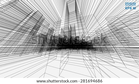Perspective 3D render of building wireframe. Vector blueprint background.