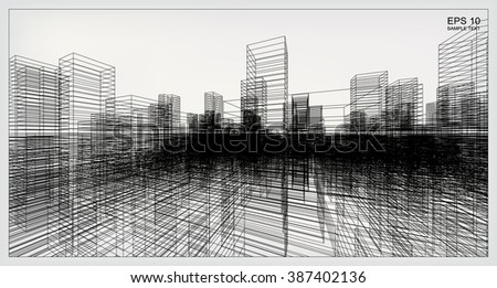 Perspective 3D render of building wireframe. Vector construction graphic idea. - stock vector