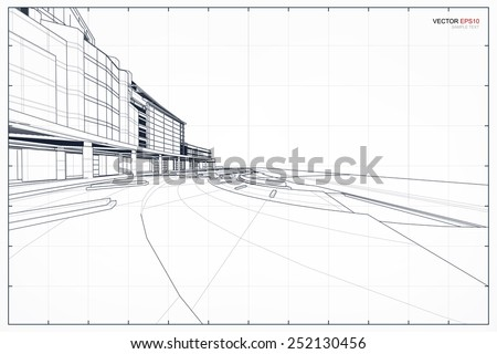 Perspective 3D render of building wireframe. Vector illustration  - stock vector