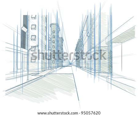Perspective drawing of a Building, Concept - modern city, architecture and designing outline vector illustration - stock vector