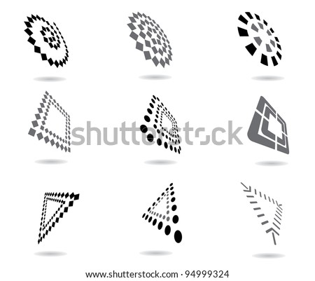 Perspective Icon Symbol Logo set EPS 8 vector, grouped for easy editing. No open shapes or paths. - stock vector