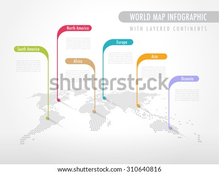 Perspective Pixelated World Map with Labels pointing each Continent - stock vector