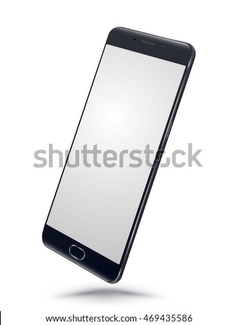 Perspective realistic black smartphone mockups with blank screen isolated on white background. Vector illustration. for printing and web element, Game and application mockup.