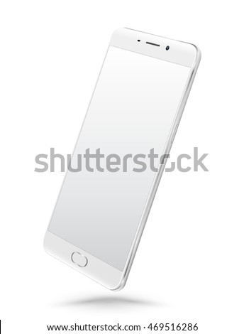 Perspective realistic white smartphone mockup with blank screen isolated on white background. Vector illustration. for printing and web element, Game and application mockup.