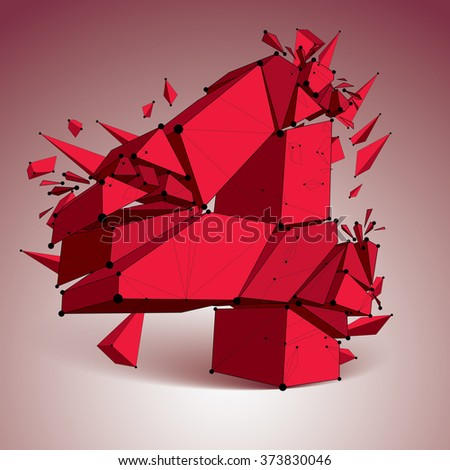 Perspective technology demolished red number 4 with black lines and dots connected, polygonal wireframe font. Explosion effect, abstract faceted element cracked into multiple fragments. - stock vector