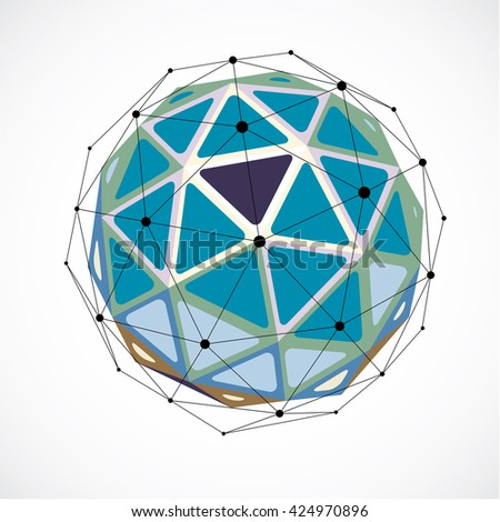 Perspective technology shape with black lines and dots connected, polygonal wireframe object. Abstract colorful faceted element for use as design structure on communication technology theme - stock vector