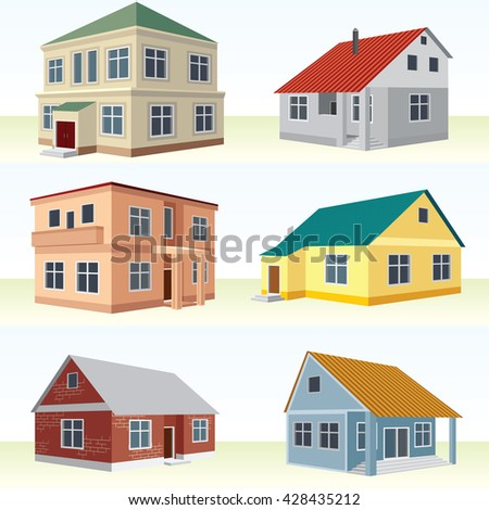 Perspective View House Icon Set. Vector 3D Buildings Design Collection. - stock vector